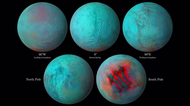 Indicios de hielo fresco en el hemisferio norte de Encélado