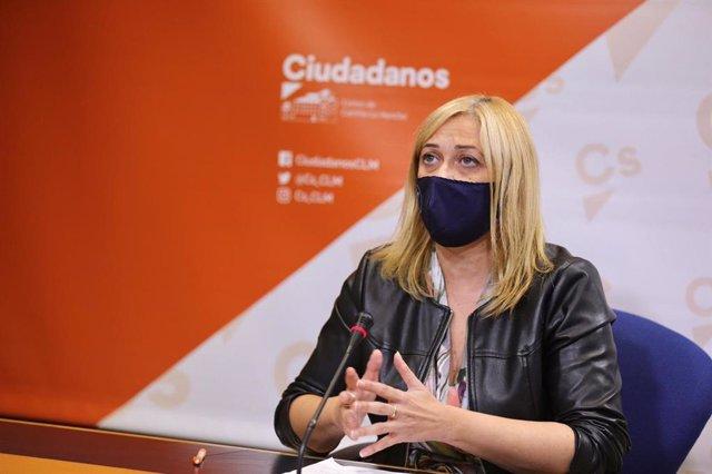 La portavoz de Cs en las Cortes, Carmen Picazo, en rueda de prensa.