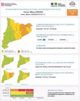 Mapa d'avisos per risc de pluges intenses del Meteocat. 21 de setembre del 2020.