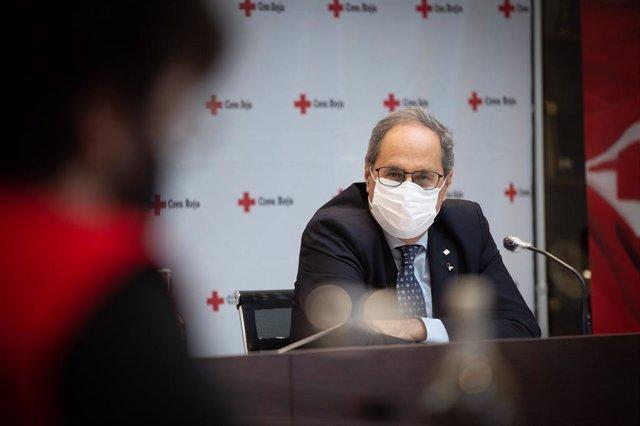 El presidente de la Generalitat Quim Torra, en un acto de Creu Roja