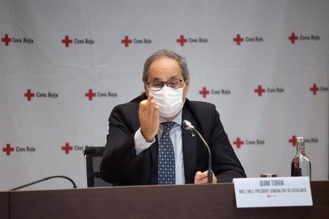 El presidente de la Generalitat, Quim Torra, durante el acto de balance de la campaña del Gobierno de Cataluña con la Cruz Roja para sensibilizar sobre el Covid-19 y disminuir el riesgo de contagios, en Barcelona a 21 de septiembre de 2020.