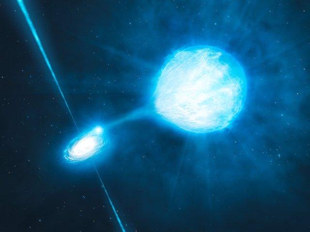 Impresión artística del agujero negro dentro del NGC 300 X-1