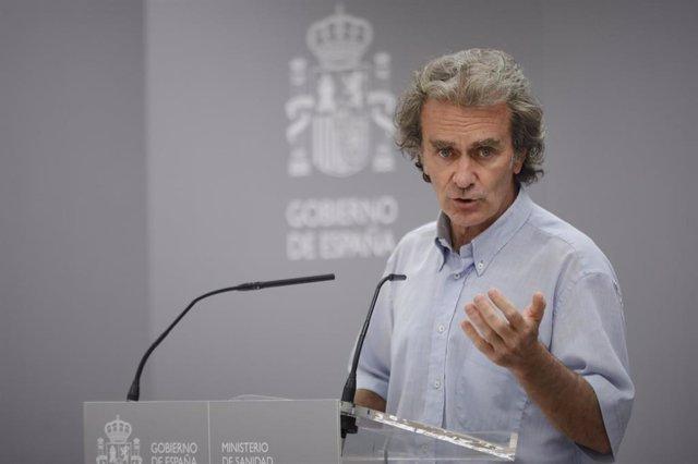 Como todos los jueves, el director del Centro de Coordinación de Alertas y Emergencias Sanitarias, Fernando Simón, informa en rueda de prensa de la evolución de la COVID-19 en la Sede del Ministerio de Sanidad, en Madrid (España), a 3 de septiembre de 202