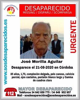 Cartel en demanda de ayuda por la desaparición de José Morilla Aguilar