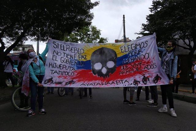 Manifestación contra las masacres en Bogotá