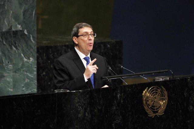 El ministro de Asuntos Exteriores de Cuba, Bruno Rodríguez, durante una intervención en Naciones Unidas.
