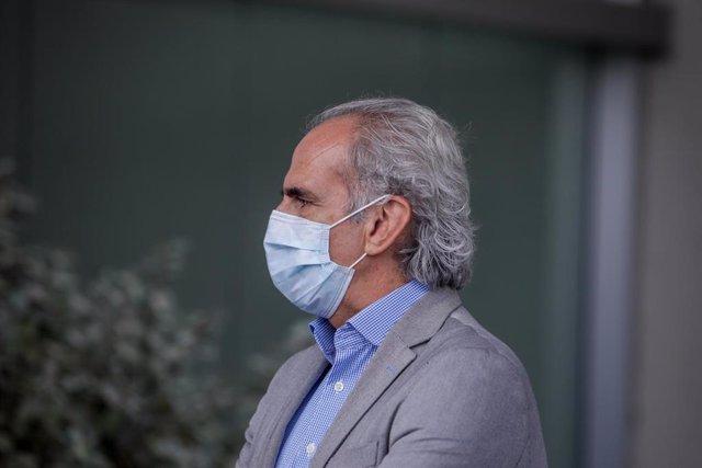 El Consejero de Salud de la Comunidad de Madrid, Enrique Ruiz Escudero, durante la rueda de prensa posterior a la reunión de coordinación en el ámbito del PLATERCAM, en Pozuelo de Alarcón, Madrid, (España), a 20 de septiembre de 2020.