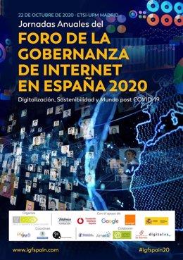 Cartel de la décima edición del encuentro anual del Foro de Gobernanza de Internet (IGF) en España, que se celebrará los próximos 22 y 23 de octubre