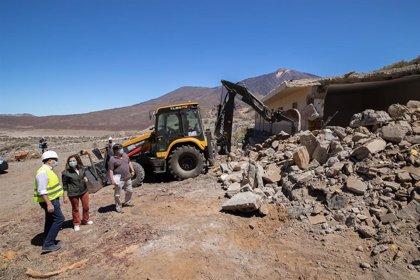 El Cabildo de Tenerife finaliza la demolición del antiguo refugio de montañeros de Ucanca