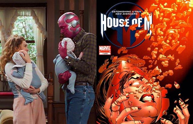 Escarlata y Visión junto a la portada de House of M