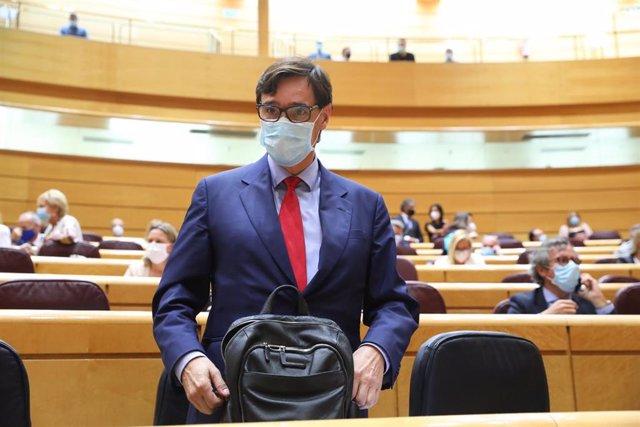 El ministro de Sanidad, Salvador Illa, a su llegada a una sesión de control al Gobierno en el Senado, en Madrid (España), a 22 de septiembre de 2020.
