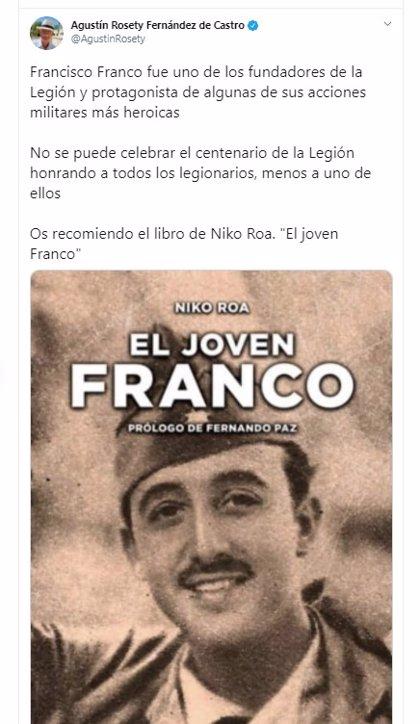 Vox se queja de que se excluya a Franco del centenario de la Legión