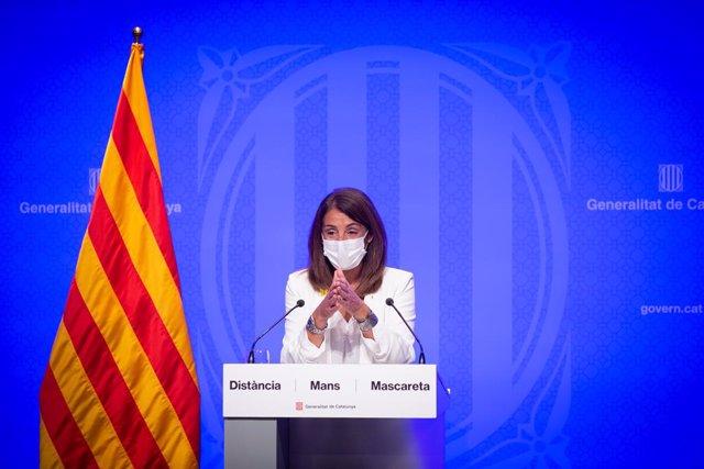La consellera de la Presidència i portaveu de la Generalitat, Meritxell Budó, durant una roda de premsa després del Consell Executiu, a Barcelona, Catalunya, (Espanya) a 22 de setembre de 2020.