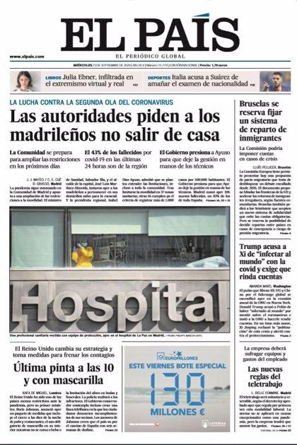 Las portadas de los periódicos del miércoles 23 de septiembre de 2020