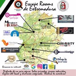 Mapa de Escape Rooms en Extremadura