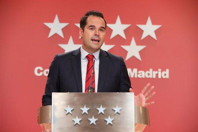 El vicepresidente de la Comunidad de Madrid, Ignacio Aguado, informa de los acuerdos adoptados en la reunión del Consejo de Gobierno de la Comunidad de Madrid, en la Real Casa de Correos, Madrid (España), a 23 de septiembre de 2020.