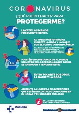 Cartel de Osakidetza con recomendaciones para protegerse del coronavirus