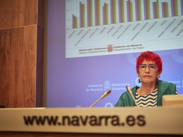 La consejera de Salud de Navarra, Santos Indurain, ofrece una rueda de prensa en el Palacio del Gobierno de Navarra para tratar sobre la situación del COVID-19 en la región, en Pamplona, Navarra (España), a 30 de junio de 2020.