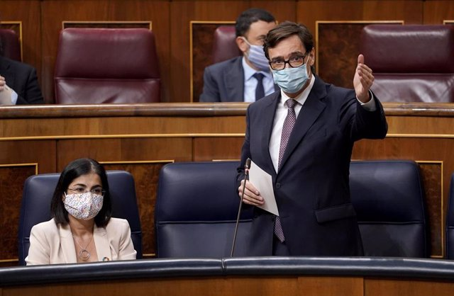 El ministro de Sanidad, Salvador Illa, interviene en una sesión de control al Gobierno en el Congreso de los Diputados, en Madrid (España), a 23 de septiembre de 2020.
