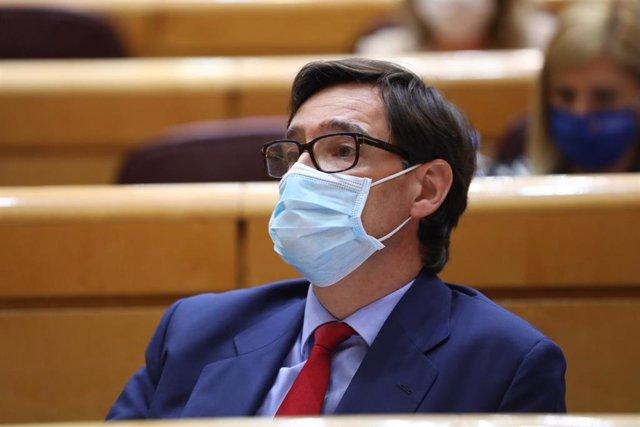 El ministro de Sanidad, Salvador Illa, durante una sesión de control al Gobierno en el Senado, en Madrid (España), a 22 de septiembre de 2020. El Ejecutivo responde, entre otras, a cuestiones relacionadas con las reformas legales para afrontar los rebrote