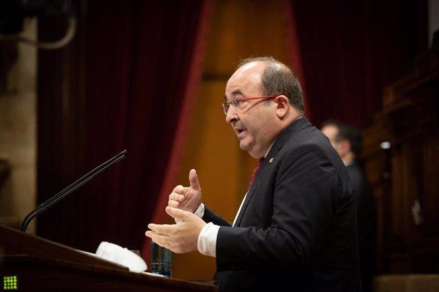 El secretario primero del PSC, Miquel Iceta, durante su intervención en el Debate de Política General (DPG) en el Parlament, en Barcelona, Catalunya (España), a 16 de septiembre de 2020. Durante el plenario, Torra explica la senda que quiere transitar su