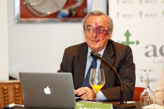 El jefe del Grupo AXA- CNIO de Oncología Experimental de la FSP CNIO adscrita al Instituto de Salud Carlos III, Mariano Barbacid, durante la presentación de los resultados de una investigación contra el cáncer de páncreas.