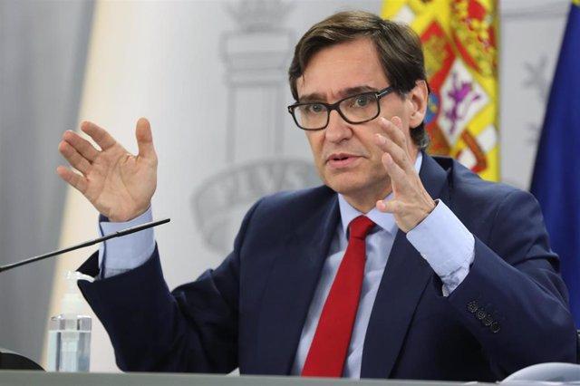 El ministro de Sanidad, Salvador Illa, comparece en rueda de prensa posterior al Consejo de Ministros en Moncloa, Madrid (España), a 22 de septiembre de 2020.