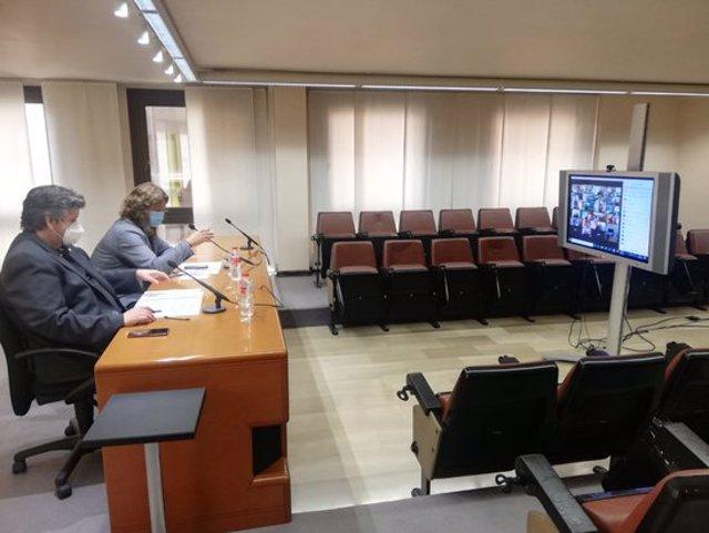 Imatge del president del Consell del Segrià, David Masot, i del vicepresident Toni Bosch, durant el Consell d'Alcaldies celebrat el 24 de setembre del 2020. (Horitzontal)
