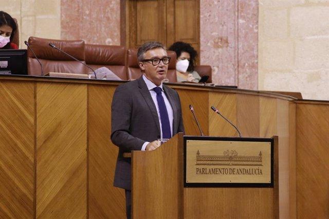 Manuel Gavira, este jueves ante el Pleno del Parlamento