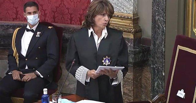 La fiscal general del Estado, Dolores Delgado, durante la apertura del año judicial