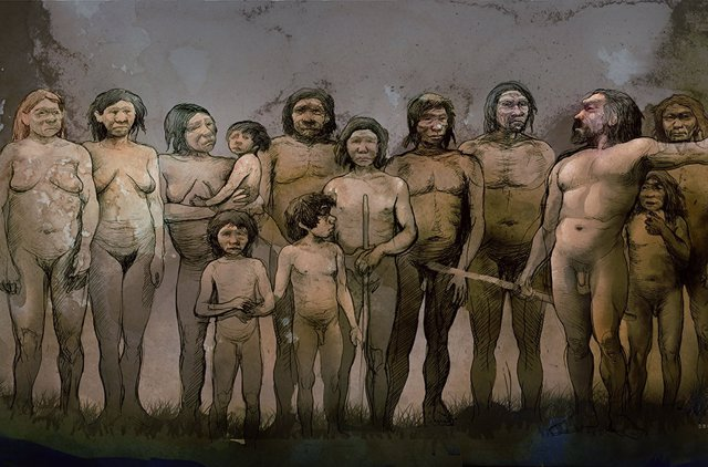 Homo Sapiens y neandertales.