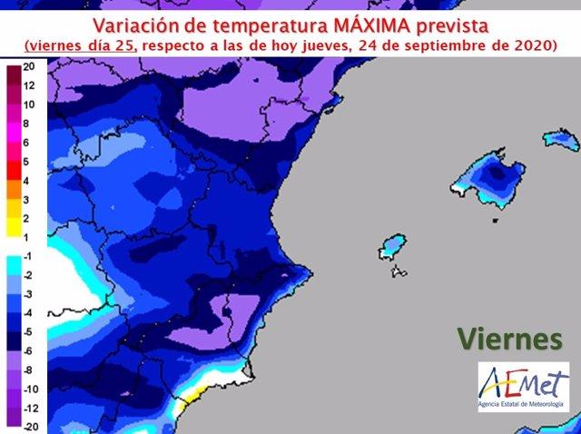Descenso térmico previsto en la Comunitat Valenciana