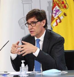 El ministro de Sanidad, Salvador Illa, interviene durante la rueda de prensa posterior a la reunión interministerial conjunta de Educación y Sanidad donde han analizado el inicio del curso escolar. En Madrid, (España), a 24 de septiembre de 2020.