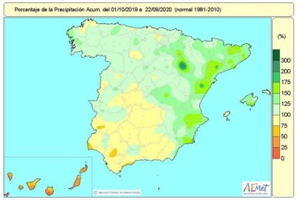El año hidrológico encara la última semana con un 13% más de lluvias de lo normal en el conjunto de España