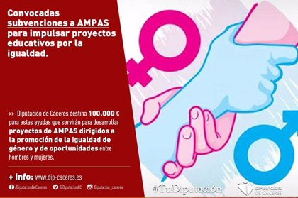La Diputación de Cáceres convoca las subvenciones para AMPAS para impulsar proyectos educativos por la igualdad