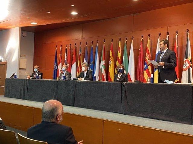 El presidente del TS y CGPJ Carlos Lesmes en el acto de entrega de despachos en la Escuela Judicial de Barcelona, el 25 de septiembre de 2020.