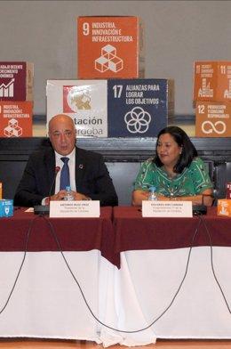 El presidente de la Diputación de Córdoba, Antonio Ruiz, y la vicepresidenta primera, Dolores Amo