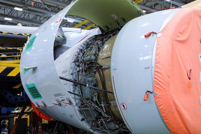 Una parte de avión durante labores de mantenimiento en la planta de Airbus en Getafe, en Madrid.