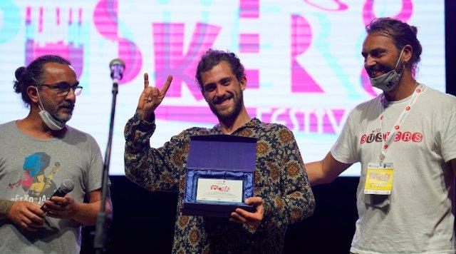 Massimo Di Stefano, director artístic del festival; el músic Borja Catanesi i Andrea Cicini, director del Gruppo Matches, organitzador del Roma International Buskers Festival.