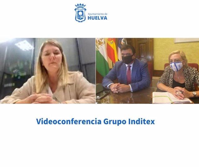 Videoconferencia del alcalde de Huelva, Gabriel Cruz, con el grupo Inditex.