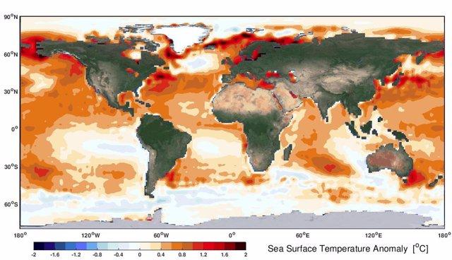 Anomalía de la temperatura de la superficie del mar observacional por satélite durante los últimos cinco años (2015-2019), referencia a los primeros cinco años (1982-1986). El aumento del calentamiento del océano surge sobre las regiones subtropicales.