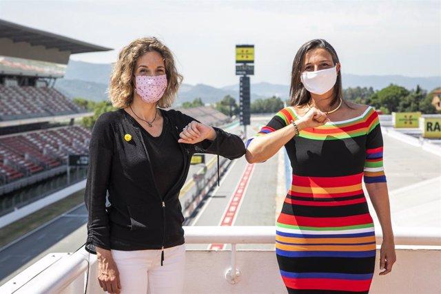 Àngels Chacón, consellera d'empresa i Coneixement de la Generalitat, i Maria Teixidor, presidenta del Circuit de Barcelona-Catalunya