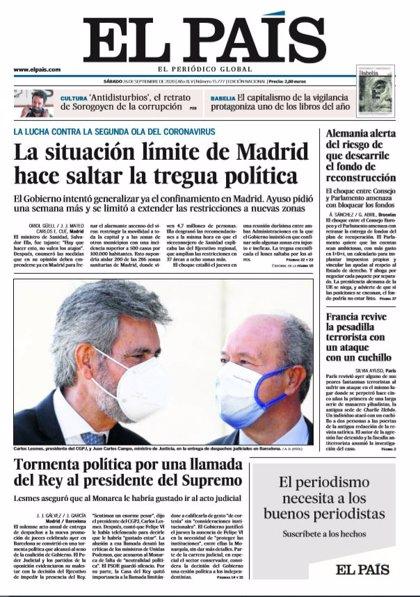 Las portadas de los periódicos del sábado 26 de septiembre de 2020