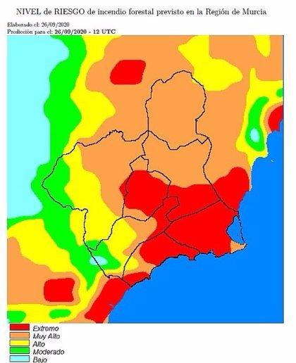 El nivel de riesgo de incendio forestal es extremo en la Cuenca de Mula y los litorales este y oeste