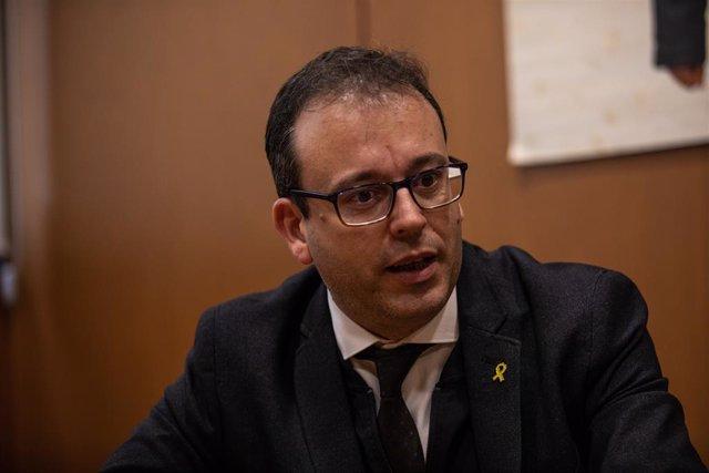 El portaveu del PDeCAT en el Parlament de Catalunya, Marc Solsona, durant la seva entrevista amb Europa Press a Barcelona (Espanya), a 25 de febrer de 2020