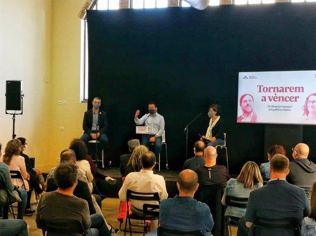 Pere Aragonès en la presentació del loibro 'Tornarem a vèncer' a Tortosa (Tarragona)
