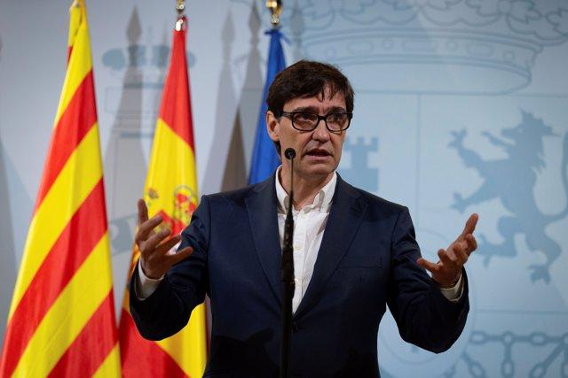 """El ministro de Sanidad, Salvador Illa, durante su intervención en una comparecencia donde ha pedido a la Comunidad de Madrid """"revisar sus decisiones y escuchar a la ciencia"""" a la hora de gestionar la pandemia del coronavirus."""