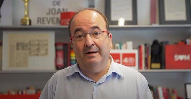 El primer secretari del PSC, Miquel Iceta, en un discurs telemàtic en la Festa de la Rosa del PSC.