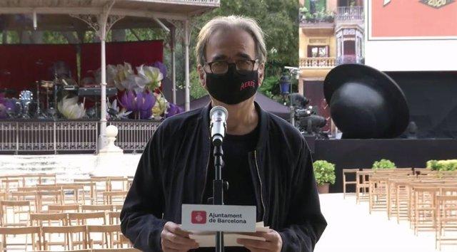 El tinent d'alcalde de Cultura de Barcelona, Joan Subirats, en roda de premsa per fer balanç de la Mercè 2020.