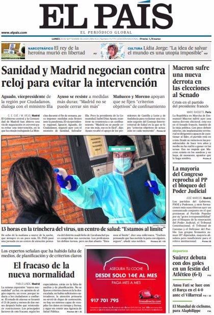 Las portadas de los periódicos del lunes 28 de septiembre de 2020
